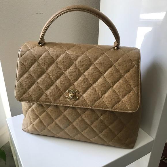 544a46b73c4d CHANEL Handbags - Auth CHANEL Tan/Beige Caviar Kelly Handbag